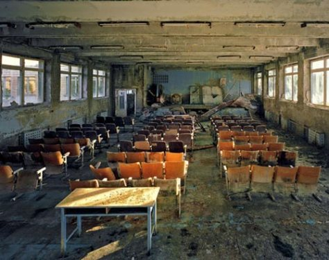 Abandoned School in Pripyat, the city that rose with Chernobyl and was deserted from the meltdown at Chernobyl.