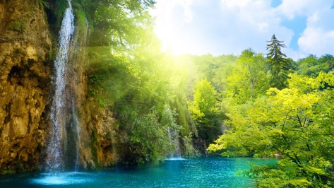 Beautiful Natural Waterfalls with Rays of Warmth