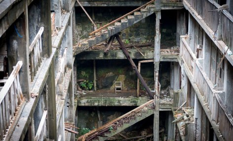 Hashima Island Apartment Stair Wells. Hard to imagine this was home to over 5000 coal-miners on this 15 acre island.