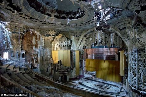 Soulless city: The shattered grandeur of Detroit's United Artists Cinema.