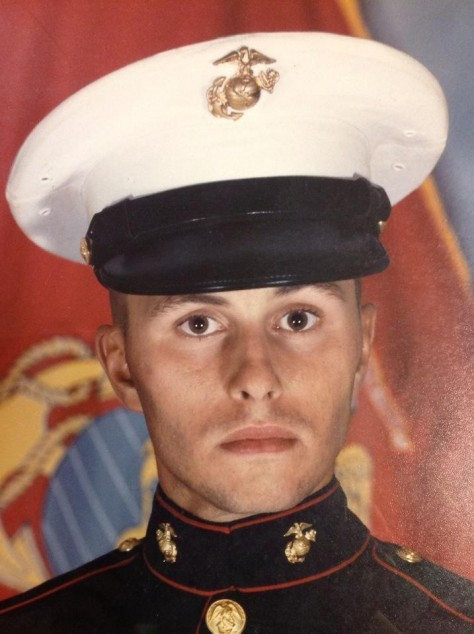 This is a picture of me in my Marine Corps Dress Blues right before the war in Iraq started.