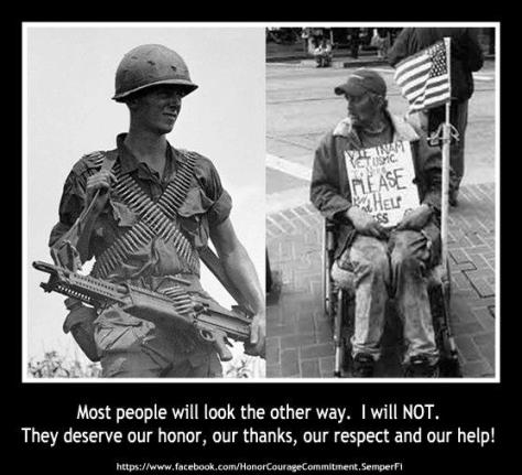 This homeless veteran of Vietnam served his country proudly as a Marine. Where is his country now?